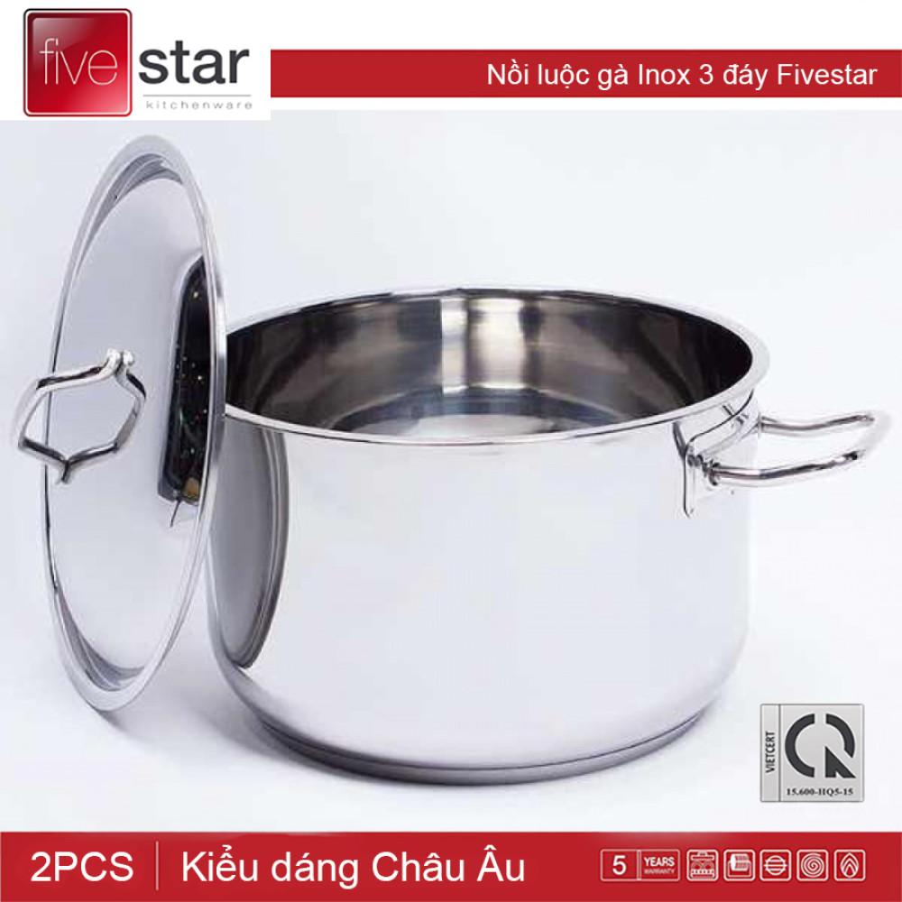 Nồi luộc gà Inox 3 đáy Fivestar đường kinh 30cm dùng bếp từ hàng chính hãng, bảo hành 5 năm