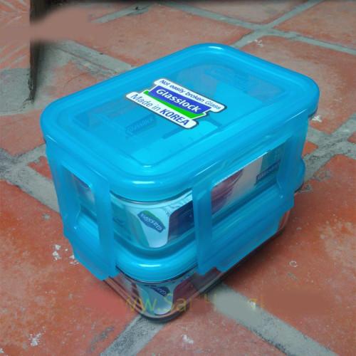Set 2 hộp cơm văn phòng 715ml glasslock Hàn Quốc DRG01