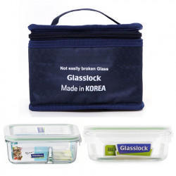Bộ hộp thủy tinh 715ml, hộp chia ngăn 670ml và túi giữ nhiệt Glasslock
