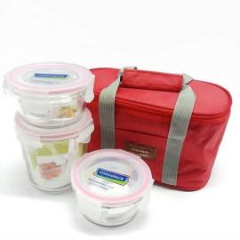 Bộ 3 hộp thủy tinh đựng cơm Glasslock Lunch Set Oval 3 kèm túi giữ nhiệt