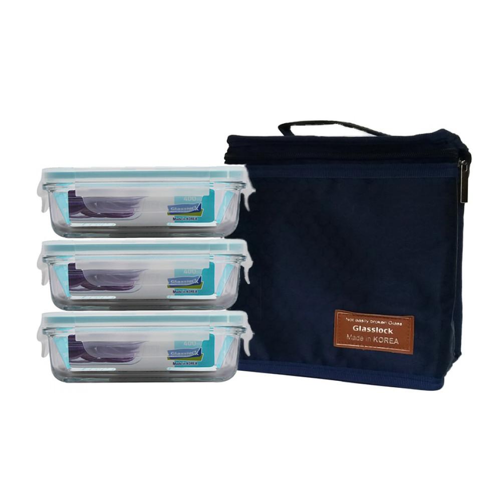 Bộ 3 hộp thủy tinh 400ml và túi giữ nhiệt Glasslock