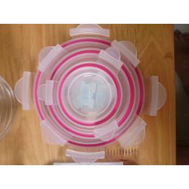 Bộ 3 hộp thủy tinh tròn 400, 950 và 2050ml GlassLock GL-156 sản xuất tại Hàn Quốc - Hàng chính hãng