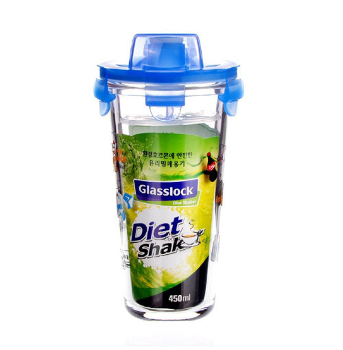 Ly thủy tinh chia vạch có nắp Glasslock Diet Shaker PC318 450ml (Xanh)