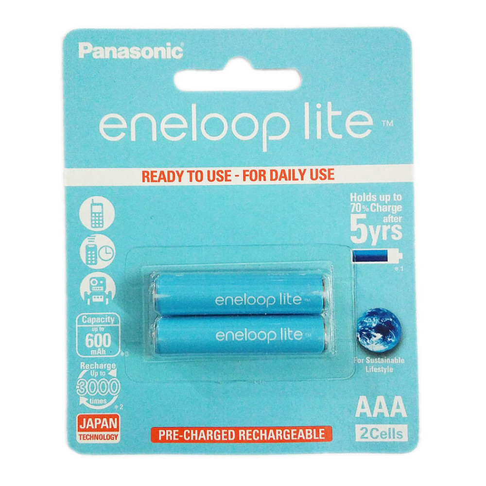 Bộ 2 pin sạc AAA Panasonic Eneloop Lite 600mAh BK-4LCCE/2BT (Hàng chính hãng)