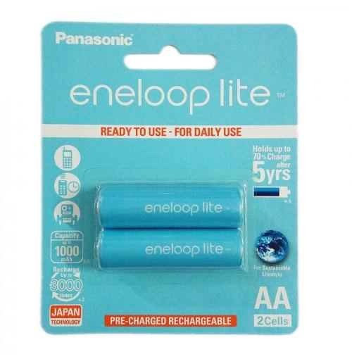 Vỉ 2 pin sạc AA Panasonic Eneloop Lite 1000mAh BK-3LCCE/2BT (Hàng chính hãng)