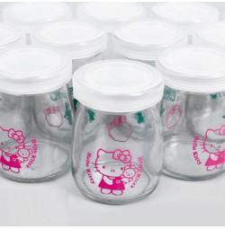 Combo 12 hũ thủy tinh làm sữa chua 100ml in hình Hello Kitty