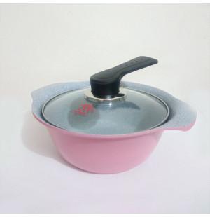 Nồi Ceramic vân đá đáy từ ILO Kitchen Hàn Quốc 18cm nắp kính - Hồng