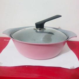 Nồi Ceramic vân đá đáy từ ILO Kitchen Hàn Quốc 24cm nắp kính - Hồng