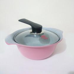 Nồi Ceramic vân đá đáy từ ILO Kitchen Hàn Quốc 21cm nắp kính - Hồng