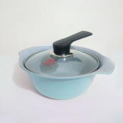 Nồi Ceramic vân đá đáy từ ILO Kitchen Hàn Quốc 18cm nắp kính - Xanh
