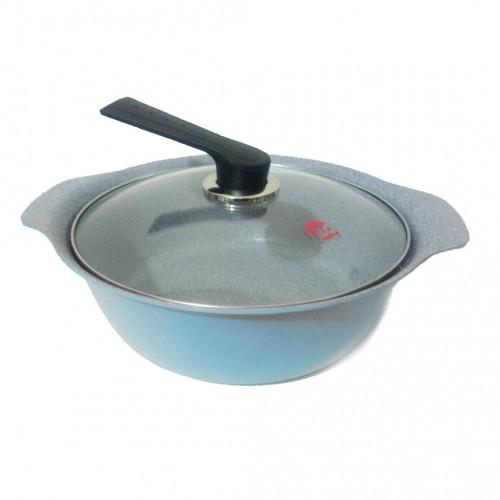 Nồi Ceramic vân đá đáy từ ILO Kitchen Hàn Quốc 24cm nắp kính - Xanh