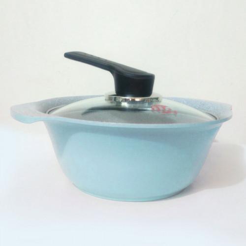 Nồi Ceramic vân đá đáy từ ILO Kitchen Hàn Quốc 21cm nắp kính - Xanh