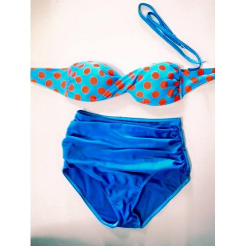 Bộ bơi cạp cao áo chấm bi xanh