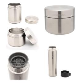 Bộ 3 hộp cơm Inox giữ nhiệt Lock&Lock LHC8016S01 (Tặng Bình giữ nhiệt 400ml)