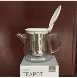 Bình lọc trà thủy tinh có tay cầm Lock&lock Teapot LLG608 400ml nắp trắng