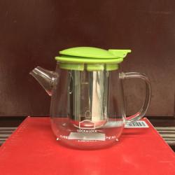 Bình lọc trà thủy tinh có tay cầm Lock&lock Teapot LLG608 400ml nắp xanh lá