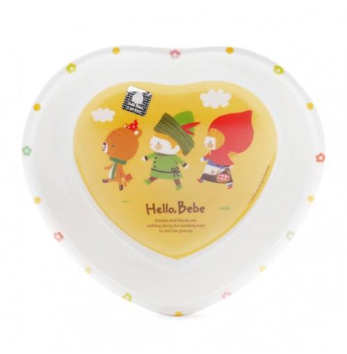 Bát ăn dặm trái tim nhựa Melamine Hello Bebe Lock&Lock LBB458