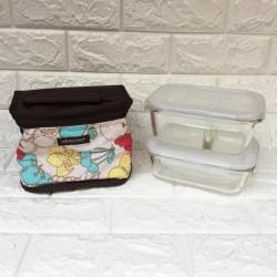Bộ 2 hộp thủy tinh và túi giữ nhiệt Lock&lock LLG4289BD (630ml và 740ml chia ngăn)