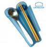 Bộ đũa tre, thìa Inox và hộp đựng Lock&lock HPL103BLU màu xanh