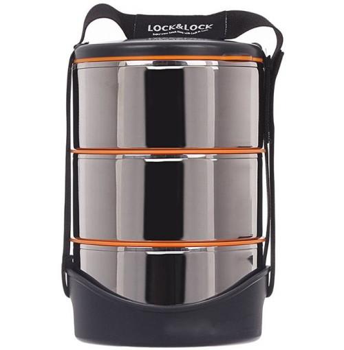 Cặp lồng cơm inox giữ nhiệt 3 tầng 3 nắp Lock&Lock 14x21cm LHC991