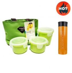 Bộ 3 hộp đựng cơm, túi giữ nhiệt HAF100G3 (xanh lá) và bình giữ nhiệt Lock&Lock LHC4016 (cam)