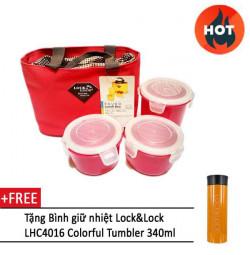 Bộ 3 hộp đựng cơm, túi giữ nhiệt HAF100R3 (đỏ) và bình giữ nhiệt Lock&Lock LHC4016 (cam)