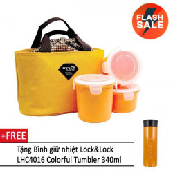 Bộ 3 hộp đựng cơm, túi giữ nhiệt HAF100Y3 (vàng) và bình giữ nhiệt Lock&Lock LHC4016 (cam)