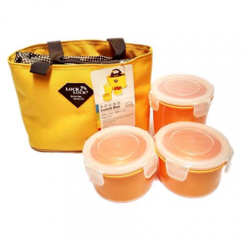 Bộ 3 hộp đựng cơm và túi giữ nhiệt Lock&lock HAF100Y3 - Vàng