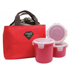 Bộ 3 hộp đựng cơm và túi giữ nhiệt Lock&lock HAF100R3 - Đỏ