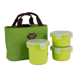 Bộ 3 hộp đựng cơm và túi giữ nhiệt Lock&lock HAF100G3 - Xanh lá
