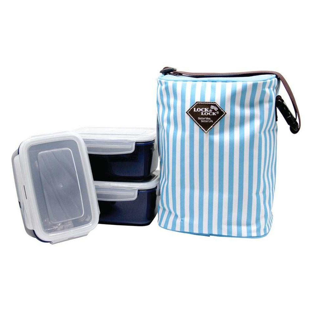 Bộ 3 hộp đựng cơm và túi giữ nhiệt Lock&Lock HAF101B3 630ml (Xanh)