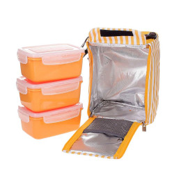 Bộ 3 hộp đựng cơm và túi giữ nhiệt Lock&Lock HAF101Y3 630ml ( Vàng cam)