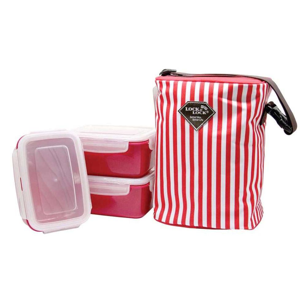 Bộ 3 hộp đựng cơm và túi giữ nhiệt Lock&Lock HAF101R3 630ml (Đỏ)