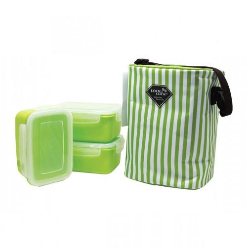 Bộ 3 hộp đựng cơm và túi giữ nhiệt Lock&Lock HAF101G3 630ml (Xanh cốm)