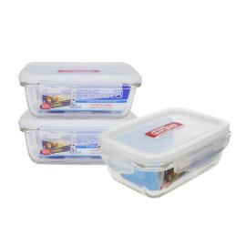 Bộ 3 hộp cơm thủy tinh Lock&lock 430ml và túi giữ nhiệt Glasslock