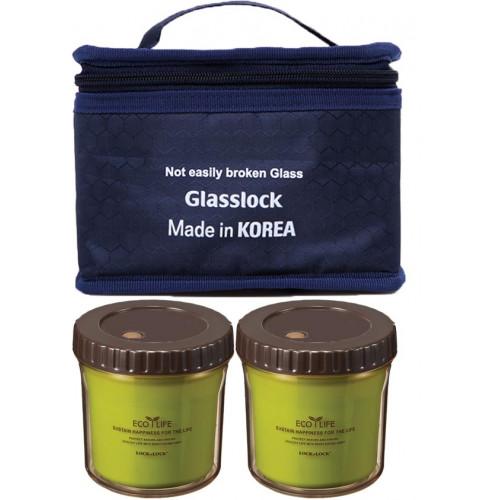 Bộ 2 hộp nhựa giữ nhiệt Ecolife Lock&lock và túi giữ nhiệt Glasslock