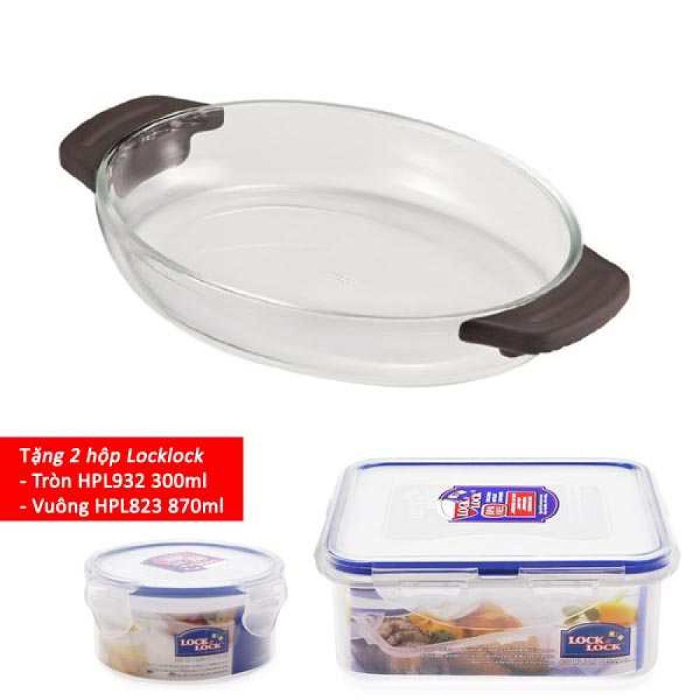 Khay thủy tinh nấu lò vi sóng, lò nướng Lock&lock Glass LLG547 (Tặng 2 hộp nhựa đựng thức ăn)