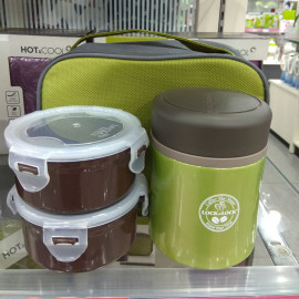 Bộ hộp đựng cơm Inox 304 giữ nhiệt và túi Lock&lock LHC938 450ml xanh lá (Kèm đũa)
