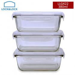 Bộ 3 hộp thủy tinh chịu nhiệt chữ nhật Lock&Lock LLG422 380ml