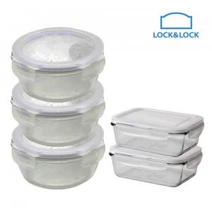 Bộ 5 hộp thủy tinh chịu nhiệt Lock&Lock 380ml LLG821S5
