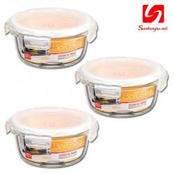 Bộ 3 hộp thủy tinh tròn chịu nhiệt cao Lock&Lock LLG822 400ml