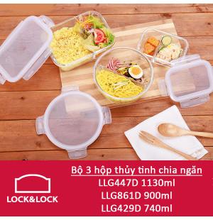 Bộ 3 hộp thủy tinh chia ngăn Lock&Lock LLG447DS3 ( 740ml, 900ml, 1130ml )