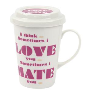 Ly sứ có nắp đậy và quai Lock&lock Merry & Funny SLB006C 370ml - Love Hate