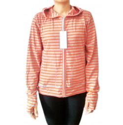 Áo chống nắng cotton Uniqlo kẻ ngang cam
