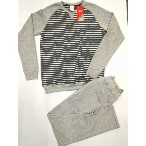 Bộ quần áo nỉ cotton nam xuất hàn màu ghi sáng