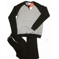 Bộ quần áo nỉ cotton nam xuất hàn màu đen