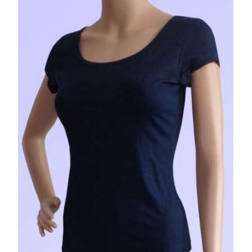 Áo tập yoga ngắn tay cổ tròn màu xanh đen