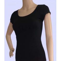 Áo tập yoga ngắn tay cổ tròn màu đen