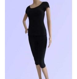 Bộ tập yoga áo có tay quần lửng ( màu đen )