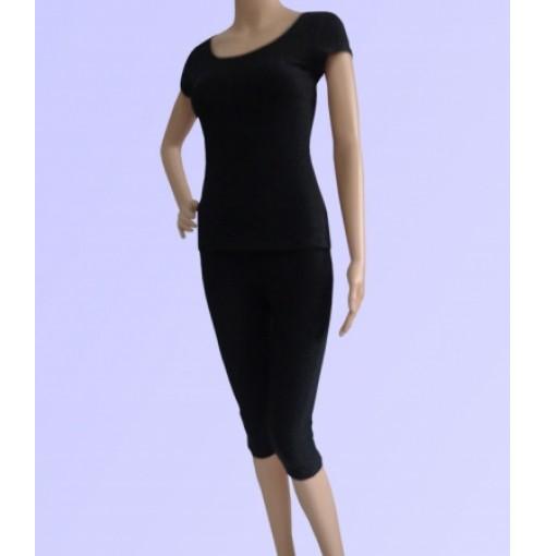 Bộ tập yoga áo có tay quần lửng ( màu đen szxl)
